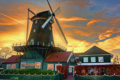 Windmill Sunset Print by Nadia Sanowar