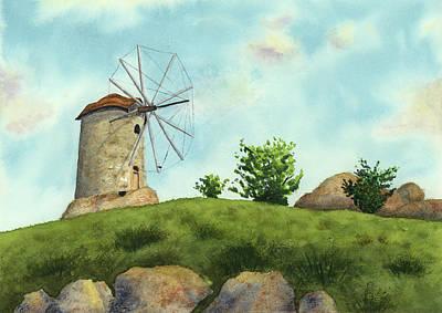 Poster Painting - Windmill by Taylan Apukovska