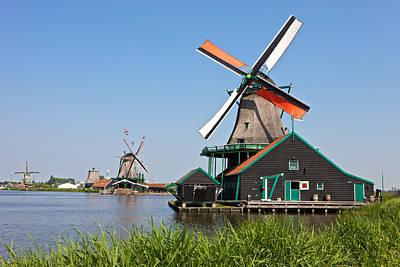 Windmills At Zaanse Schans Print by Johan Elzenga