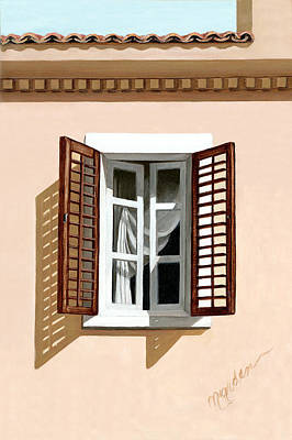 Shutters Painting - Window Above Athens by Mary Grden's Baywood Gallery