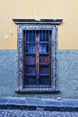 Window And Textured Wall Print by Carol Leigh