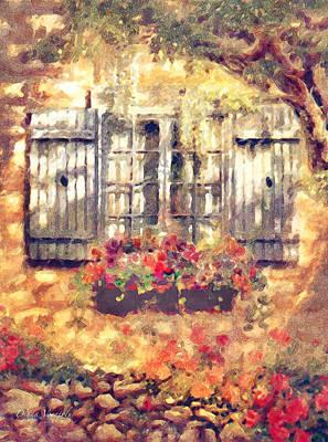 Charming Cottage Digital Art - Window Box In Bloom by Diana Voyajolu