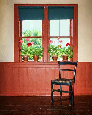 Window - Chair - Geraniums Print by Nikolyn McDonald