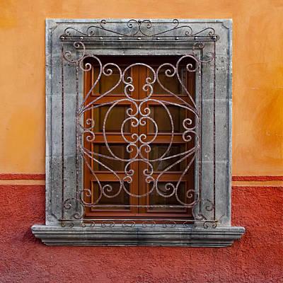 Window On Orange Wall San Miguel De Allende Print by Carol Leigh