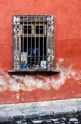 Guanajuato Photograph - Window On Red Wall San Miguel De Allende, Mexico by Carol Leigh