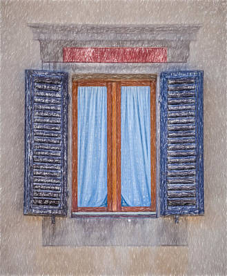 Tuscan Hills Drawing - Window Sketch Of Tuscany by David Letts