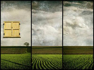 Window To Farmland Triptych Print by Wim Lanclus