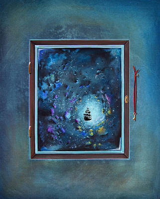 Outer Space Painting - Window To Genesis by Cindy Thornton
