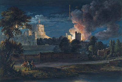 Paul Sandby Painting - Windsor Castle From Datchet Lane On A Rejoicing Night 1768 by Paul Sandby