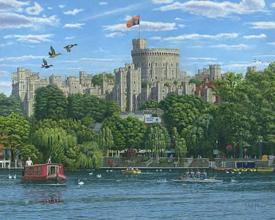 Windsor Castle From The River Thames Print by Richard Harpum