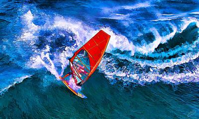 Manipulation Photograph - Windsurfer 1 by Bill Caldwell -        ABeautifulSky Photography