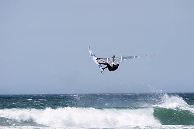 Windsurfer Jumping Waves At Jalama Print by Rich Reid