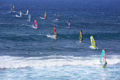 Windsurfing In Maui Hawaii Print by Diane Diederich