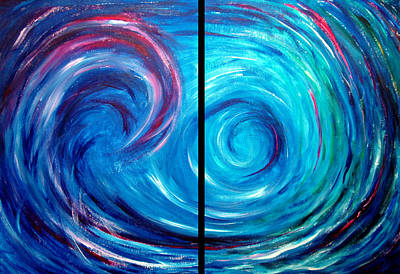 Windswept Blue Wave And Whirlpool 2 Print by Nancy Mueller