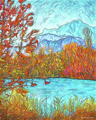 Trippy Digital Art - Windswept Orange Leaves - Colorado Lake And Mountains by Joel Bruce Wallach