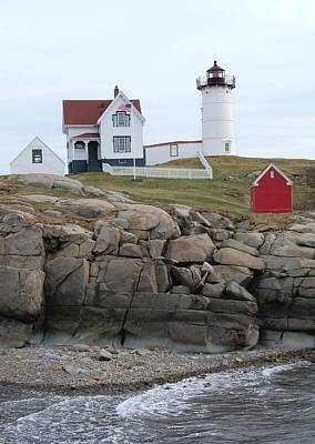 Windy Day At Nubble Light Print by Katie Beougher
