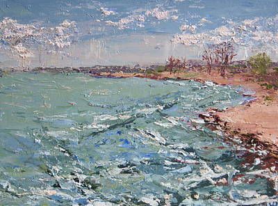 Windy Day At Waukegan Beach Print by Mary Haas