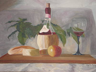 Bread And Cheese Painting - Italian Wine And Cheese by Angela Inguaggiato