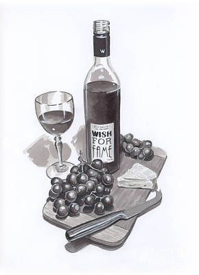 Wine And Cheese Print by Brandy Woods