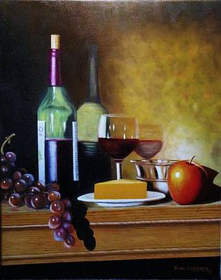 Wine And Cheese Print by Gene Gregory