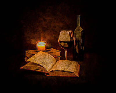 Red Wine And Classics By Candlelight Print by Erin Cadigan