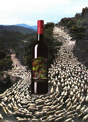 Goat Mixed Media - Wine And Goats by Francine Gourguechon