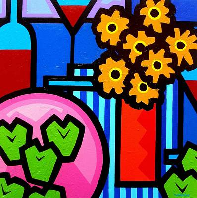 Wine Bottle Painting - Wine Apples Flowers by John  Nolan