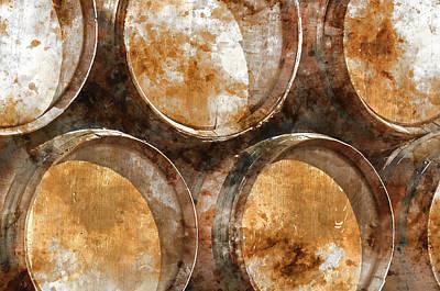 Napa Valley Digital Art - Wine Barrels by Brandon Bourdages