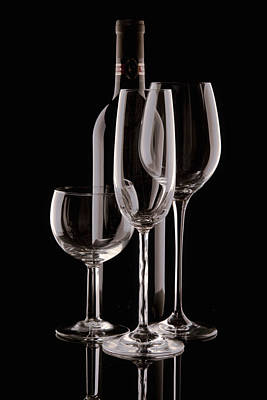 Wine Bottle And Wineglasses Silhouette Print by Tom Mc Nemar