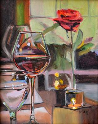 Wine By Candlelight Print by Donna Tuten