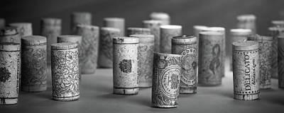 Wine Cork Panorama In Black And White Print by Tom Mc Nemar