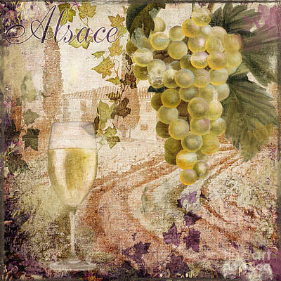 Wineglass Painting - Wine Country Alsace by Mindy Sommers