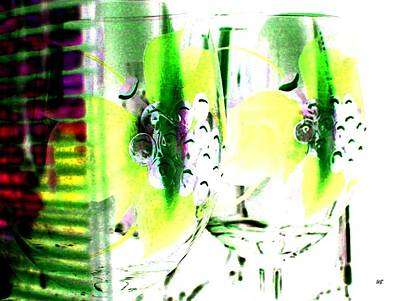 Hand Painted Wine Glass Digital Art - Wine Country Ambiance by Will Borden