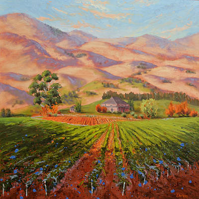 Central Coast Winery Painting - Wine Country II - Talley Vineyard Arroyo Grande by Lynee Sapere