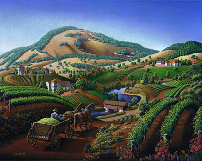 Fall Panorama Painting - Old Wine Country Landscape - Delivering Grapes To Winery - Vintage Americana by Walt Curlee