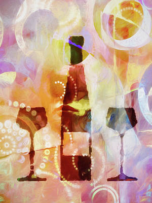 Bottle Of Wine Painting - Wine For Two by Lutz Baar