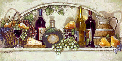 Wine Fruit N Cheese Pantry Print by Janet  Kruskamp