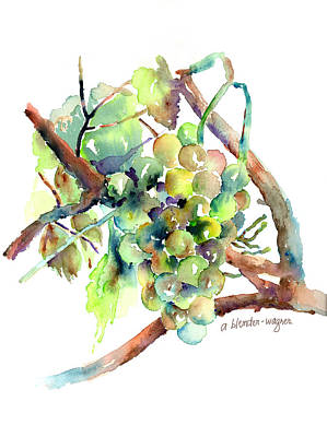 Grape Vines Painting - Wine Grapes by Arline Wagner
