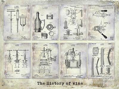 Wine History Patents Print by Jon Neidert