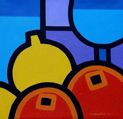 Wine Glass Painting - Wine Lemons Oranges by John  Nolan
