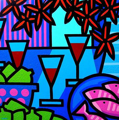 Bottle Painting - Wine Limes Flowers And Fish by John  Nolan