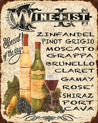 Wine List-jp3588 Print by Jean Plout