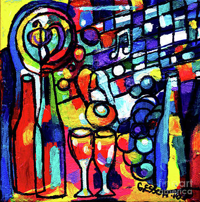 Painting - Wine Menagerie Small by Genevieve Esson