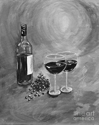 Glass Of Wine Painting - Wine On My Canvas - Black And White - Wine For Two by Jan Dappen