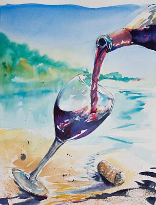 Wine On The Beach Original by Adam VanHouten