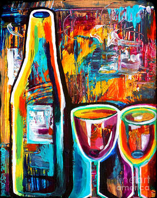 Painting - Wine Lovers Abstract by Genevieve Esson