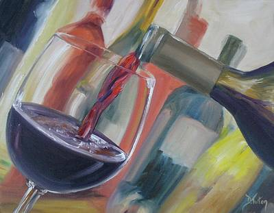 Pouring Wine Painting - Wine Pour by Donna Tuten