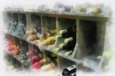 Wine Cellar Mixed Media - Wine Rack Mixed Media 01 by Thomas Woolworth