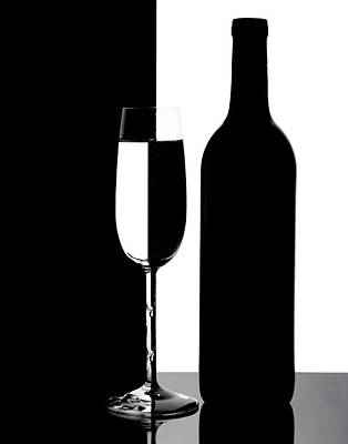 Wine Silhouette Print by Tom Mc Nemar