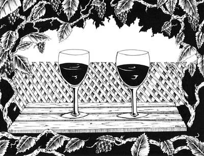 Merlot Drawing - Wine Time by Bob Veon